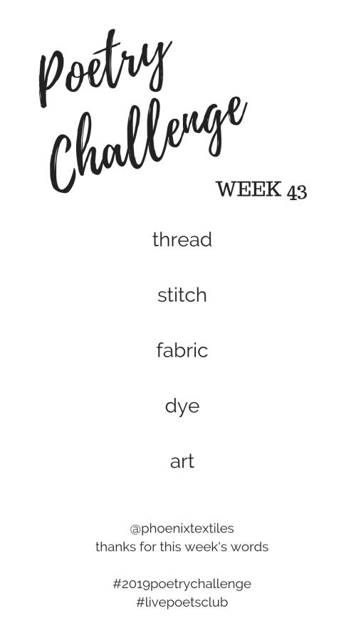 Poetry Challenge 2019 - Week 43 Words